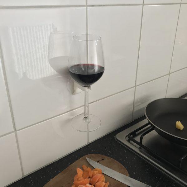 Wijnglashouder EPIN 3D Wit Zijkant Cadeau Geschenk