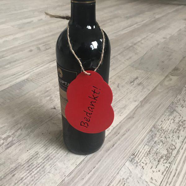 Wijnfles hanger - bedankt